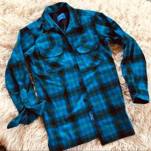Pendleton Green Blue plaid wool size S